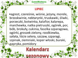 kalendarz sezonowy lipiec - jedz naturalnie!