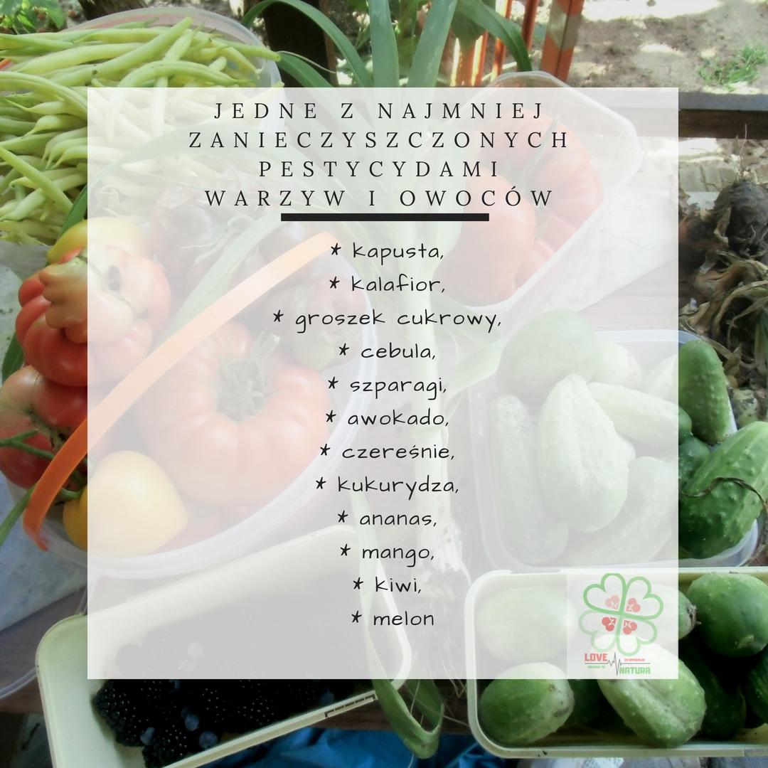 najmniej zanieczyszczone pestycydami owoce i warzywa